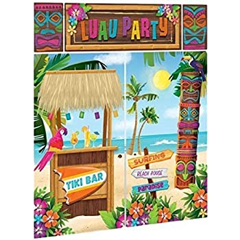TIKI Scene Setter LUAU party wall decor tropical island PHOTO BACKDROP kit 5/'