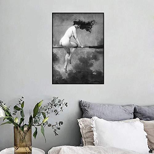 HNZKly Hexenreiten Besenstiel Vintage Poster Wand Bilder Bild Leinwand Hexenbesen Gotik Okkult Halloween Antik Schwarz Weiß Gemälde Dekor 30x40cm / Ungerahmt F27
