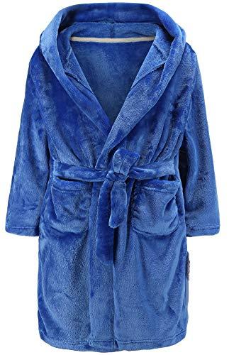 Albornoz con capucha para niños y niñas, de forro polar para niños y niñas, Azul, 9-10 Años