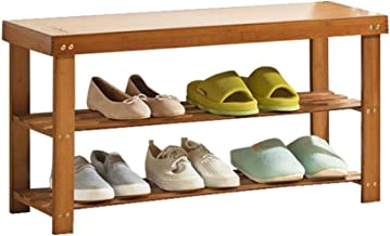 Household Bamboo Shoe Rack Storage Tower Boots Bench Hallway 2 Tier Simple Wooden Organiser Shelves Versatile Storing Foot...