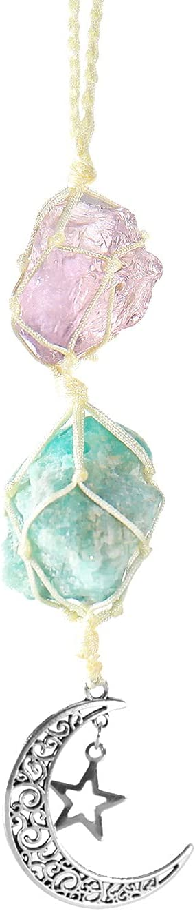 Healing Crystals Ornament, Dangling Moon Star Healing Crystal Stones Hanging Ornament, Natural Energy Crystal Ornament Decor for Home, Car and Party