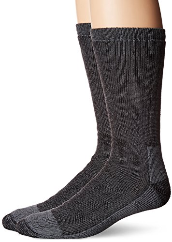 Fruit of the Loom Men's Work Gear Crew Socks with Arch Support | Breathable & Lightweight | 2 Pack Socks,Black,Shoe Size 6-12/Sock Size 10-13