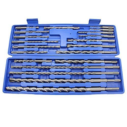 Brocas SDS Plus para martillo perforador,20 pcs broca martillo percutor Rotativas Conjunto de Taladro Agujero de Albañilería Concreto Kits de Reparación Ranurado