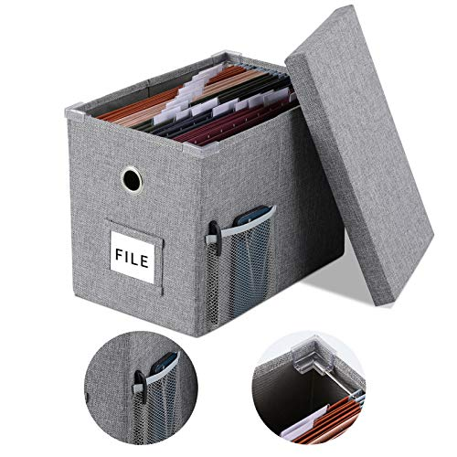 Linen File Boxes Organizer with Smooth Sliding Rail with Lids for Letter Size Collapsible Hanging File Storage Organizer Storage Filing Bin 1 Grey