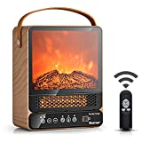 COSTWAY Portable Electric Fireplace, 750W/1500W Mini Electric Heater with 50℉ to 90℉, 12H Timer, Remote Control, 4 Flame Brightness, Tabletop Fireplace Heater for Home Office Indoor Use, Maple