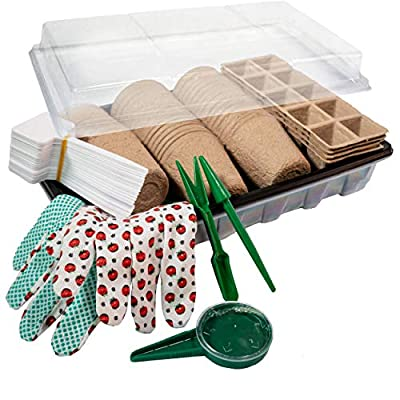 Biodegradable Seed Starter Kit - Peat Pots Trays with Humidity Dome and Base | Organic Plant Starter for Vegetable and Flower Indoor/Outdoor Gardening