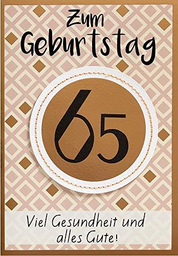 Geburtstagskarte zum 65. Geburtstag Lifestyle - Muster - 11,6 x 16,6 cm