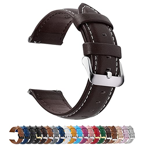 Fullmosa Axus Correa Piel, 12 Colores para Correa Reloj, Huawei Samsung Correa/Banda/Pulsera/Strap 14mm 16mm 18mm 19mm 20mm 22mm 24mm, Marrón Oscuro + Hebilla de Plata, 22mm