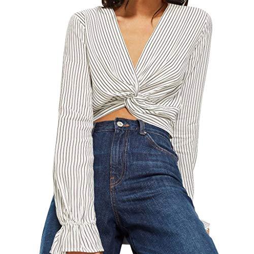 Masoness ShirtWomen Fashion V-Ausschnitt Twisted Stripe Tightness Shirt Langarm Top Bluse,Gestreiftes, elastisches Hemd mit V-Ausschnitt und...