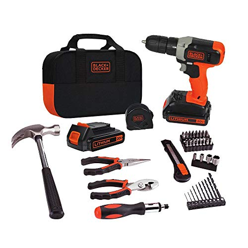 BLACK+DECKER BCD702PK2B 20V MAX Lithium Drill and Project Kit with 2 Batteries