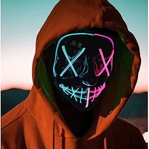 Beautsoful 2021 Halloween-Leuchtmaske, LED-Maske, EL-Draht, gruselige Maske für Halloween, Festival, Party, Maskerade, Cosplay, leuchtende Gesichtsmaske für Männer, Frauen, Kinder (halb blau und rosa)