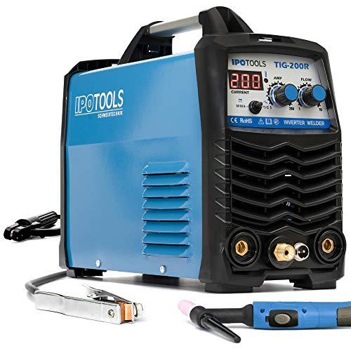 IPOTOOLS TIG-200R WIG - Soldadora CC - TIG WIG 200 amperios con inversor digital LCD, encendido HF, MMA E, IGBT, 7 años de garantía