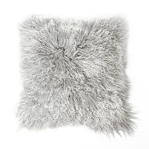 Tibet Lammfell Kissen Kissenbezug 30x30cm (große Farbauswahl) JAY105 Farbe Silber grau (Tops)