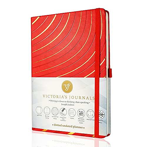 VICTORIA'S JOURNALS Bullet Notebook, Dotted Undated Planner Sofia Hard Cover Vintage Journal Time Management and Goals Organizer, A5 Size 5.5'' x 7.8''
