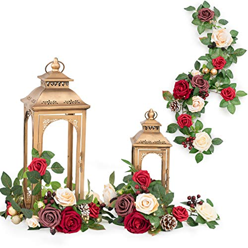 Ling's moment Handcrafted Christmas Red Rose Flower Garland Floral Arrangements Pack of 6 for Wedding Table Centerpieces Floral Runner Lantern Wreath Decorations