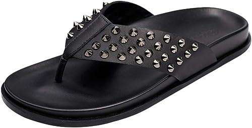 MYXUAA Tongs Hommes Personnalité de la Mode Rivet Pantoufles Punk Punk Sandales Sandales Plage Piscine Chaussures été  qualité officielle