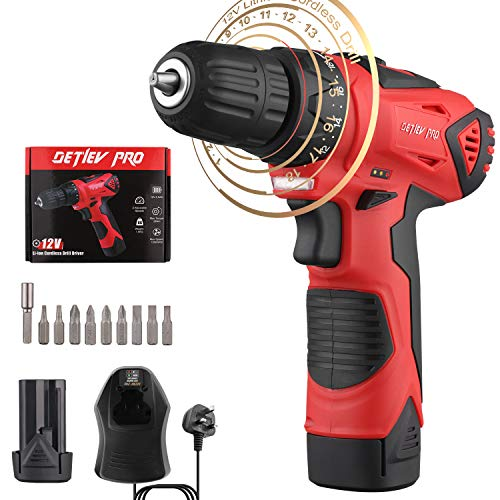 Detlev Pro Cordless Electric Screwdriver Set 12V Cordless Drill Driver with 18+1 Torque Setting for Home Use and DIY Project 8102