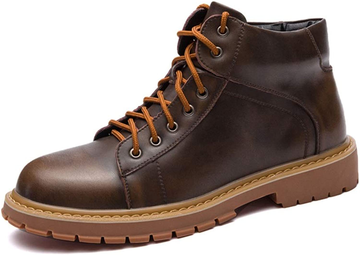 Men's Ankle Work Boot Casual Vintage Round Toe Lace Up British Style High Top Boot