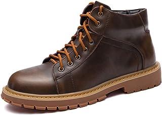 Fangaichen Chaussures de Travail de Mode Occasionnelles pour Hommes PU Cuir Combat Bottes de Moto antidérapante High Top H...