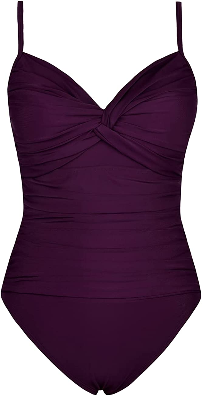 Hilor Max 42% Ranking TOP20 OFF Women's Ruched Twist Front Piece Contr One Swimsuits Tummy