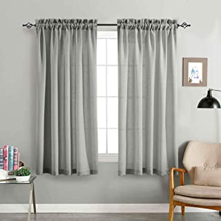 jinchan Grey Sheer Curtains for Living Room 63 Inches Length Casual Weave Textured Semi Sheer Privacy Window Treatment Set of 2 Curtain Panels for Bedroom