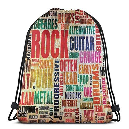 Kordelzug Bapa Taschen Sport Gym Cinch Bag Reisen für Frauen Männer Kinder, Retro Ro and Roll Symbol Schriftzug Grunge Style Distred Colors Ba Dann Sound Music Theme