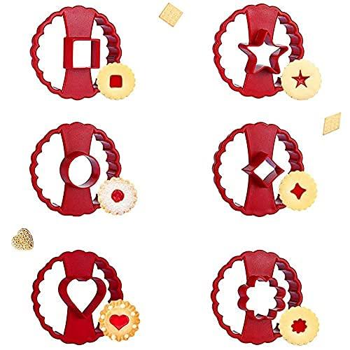 GARLIC PRESS - Set di 6 stampini per biscotti a forma di cuore, a forma di cuore, a forma di cuore, a forma di cuore, a forma di stella, per decorazione di torte fondant Cookie