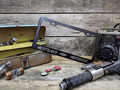 Lplpol Aluminum License Plate Frame Wasteland Wanderer - Fallout Inspired - Metal Laser Etched License Plate Frame Car Licenses Plate Covers Holders for US Vehicles