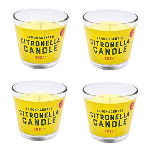 Invero® 4er Set Citronella-Wachskerzen mit Zitronenduftim Glas, 30Stunden Brenndauer, ideal für zu Hause, Küche, Bars, Büro, als Geschenk usw.