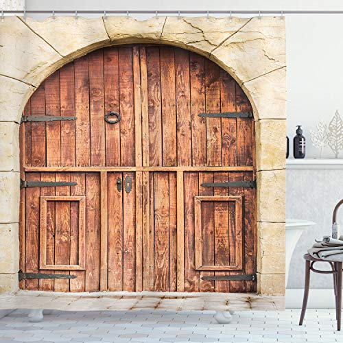 ABAKUHAUS Rustikal Duschvorhang, Eiche Tür Steinfassade, mit 12 Ringe Set Wasserdicht Stielvoll Modern Farbfest und Schimmel Resistent, 175x200 cm, Braun Creme