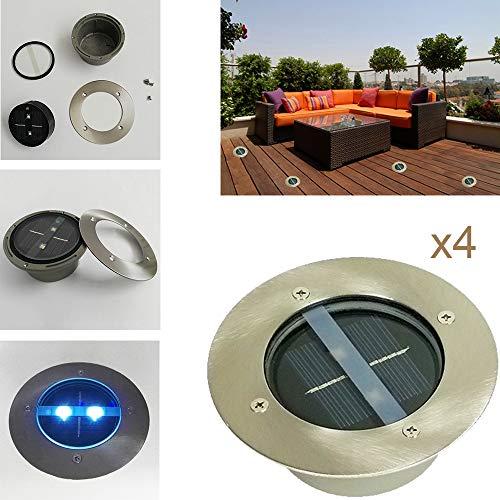 4 x Solar Bodenleuchte rund mit 2 LED 0,06W, Bodenstrahler Gartenleuchte Solarwegeleuchte, Solardekoleuchte