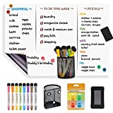 LUCYCAZ Magnetic Dry Erase Whiteboard Sheet - Fridge Board, to Do List, Meal Plan Board, with 8 Markers for Classroom, Kitchen and Office Records and Planning, 12''x 17''