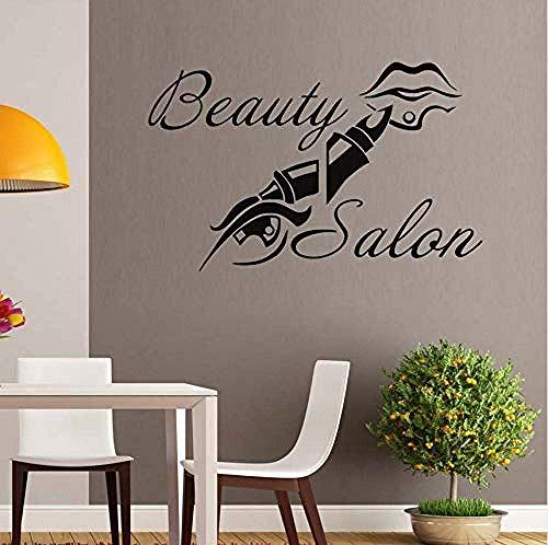 Stickers Muraux Salon De Beauté Maquillage Rouge À Lèvres Lèvres Vinyle Spa Boutique Décoration Murale Art Décalque Fenêtre Noir Étanche Pour Salon 68X43 Cm