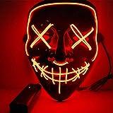 HUNTFORGOOD LED Purge Maske EL Wire Horror Maske mit 3 Blitzmodi für Halloween Fasching Karneval...