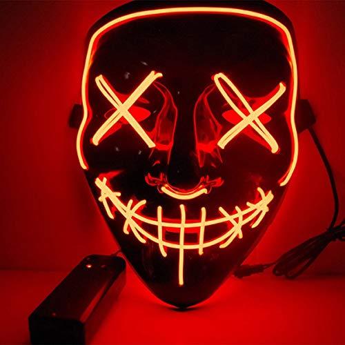 HUNTFORGOOD LED Purge Maske EL Wire Horror Maske mit 3 Blitzmodi für Halloween Fasching Karneval Party Kostüm Rot