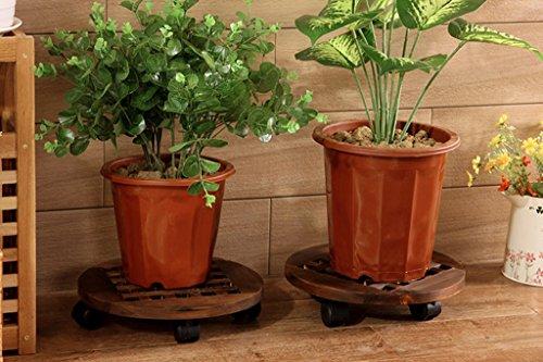 CYJZ® Porte-fleurs, poulie en bois Balustrade intérieure intérieure amovible Bac à pot de fleurs Porte-bagages en bois Couleur du bois Diamètre 30cm Résistant à la corrosion