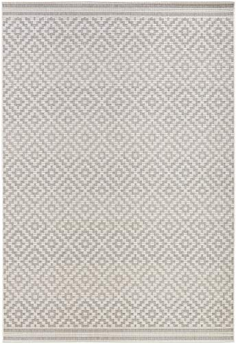 bougari In- und Outdoor Teppich Raute Grau Creme, 140x200 cm