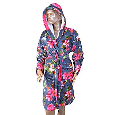 MINTEKS Women Hooded Bath Robe with Pocket | Lightweight Robes for Women | Cotton Terrycloth Spa Robes