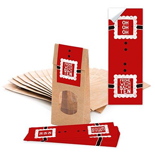 10 papieren zakken met venster en bruin, pergamenttapijt (7 x 4 x 20,5 cm) en 10 stickers Vrolijk kerst? HO HO voor de liefdevolle verpakking voor gebakjes thee en kleine cadeaus? Topkwaliteit.