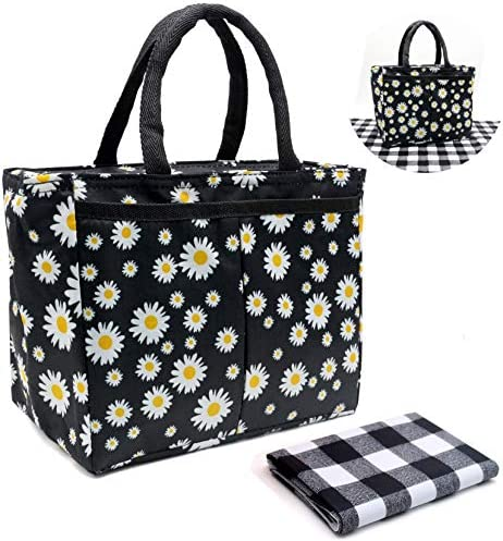 Lunch Bags For Women And Girls Insulated Lunch Bag Daisy Reusable Lunch Tote Bag With A Placement product image