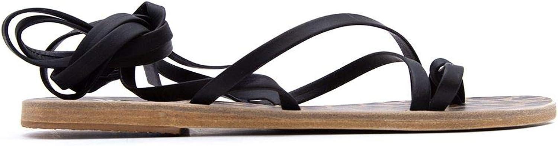 ANCIENT GREEK SANDALS Women's MORFIBLACKBLACK Black Leather Sandals