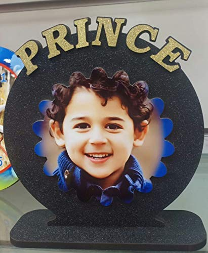 Quality Star Wooden Customized Prince Engraved Photo Plaque Frame Gift for Son, Kids, Boys (6x6 inch, Multicolour)