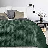 Design91 Tagesdecke Alara Gesteppter Bettüberwurf Einfarbig Steppung 3D Geometrisches Muster Ganzjährig (Dunkelgrün 1, 230 x 260 cm)