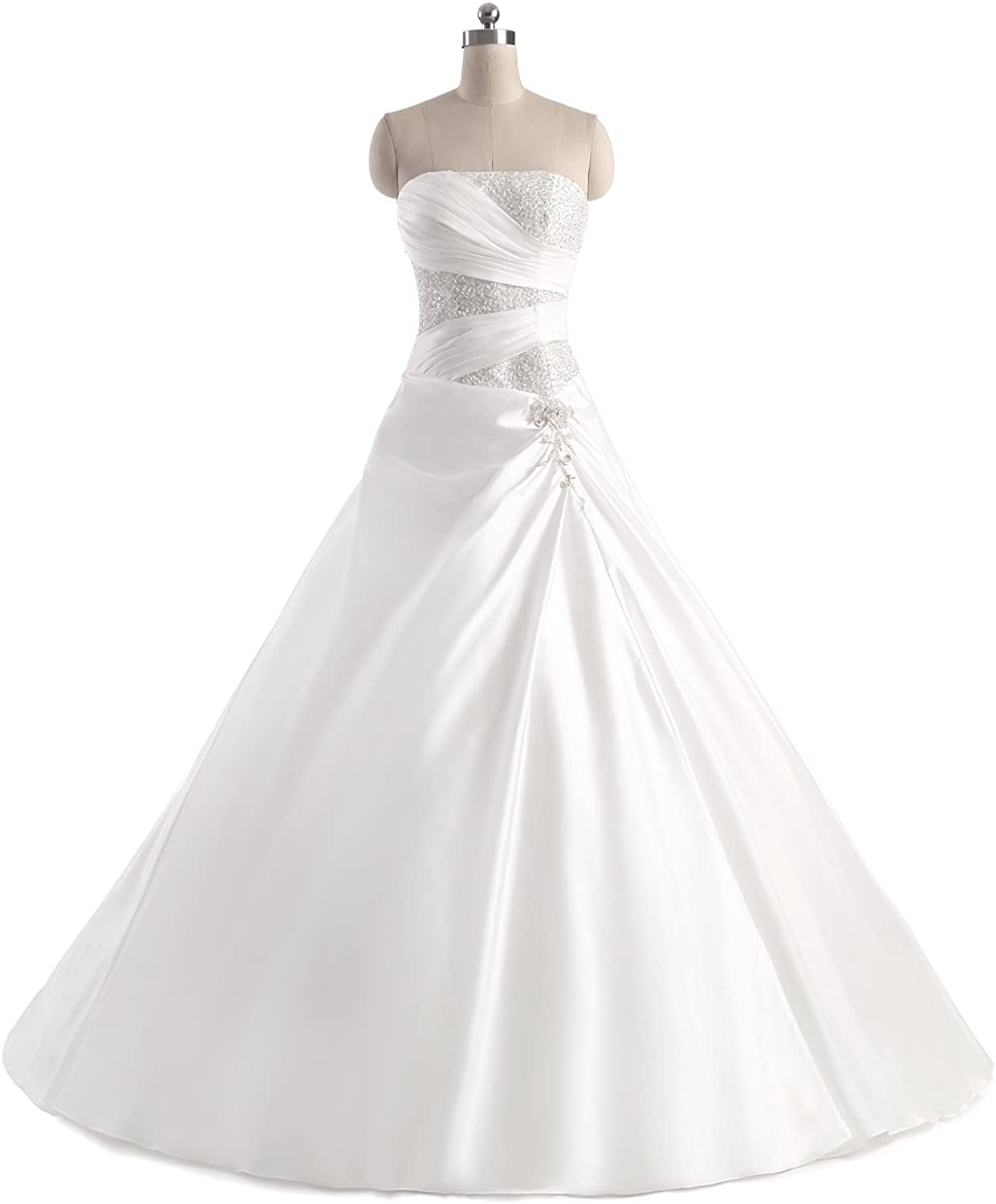 Epinkbridal Sweetheart Wedding Dress A Line Satin Sequin Beaded Bridal Gowns