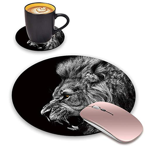 BWOOLL Round Mouse Pad and Coasters Set, Roaring Lion Design Mouse Pad, Non-Slip Rubber Base Mouse Pads for Laptop and Computer