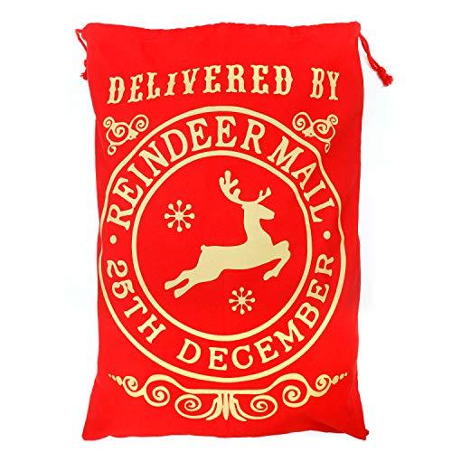 TRIXES Saco de Santa Extra Grande Rojo - La Navidad del Poste del Estilo Reno Draw Cadena Actual Bolso Saco - Envoltura de Regalo - Gran Capacidad
