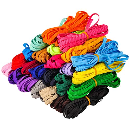 Berolle 25 Colors 1/4 Inch Wide100 Yards Skinny Elastic Spandex Band Braided Elastic Band Elastic Rope for DIY Sewing Crafting Girls Headbands, Hair Bands, Shorts Waist