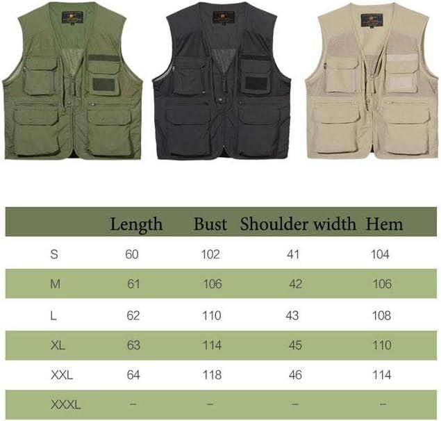 FHK Photography Travel Vest Army Fan Multi-Pocket Outdoor Men's Thin Vest Workwear Jacket (Color : Black, Size : XXL)