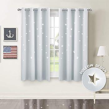 lot de 2 rideaux gris etoiles,voilage rideaux gris chambre enfant 140X230cm