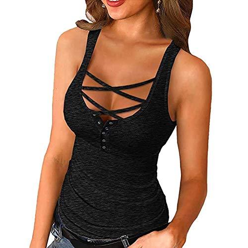 Sommer Damen Slim Fit T-Shirt Einfarbig Rundhals Sexy Niedrig Truhe Button Kurzarm Blusen Ärmellose Weste Casual Tops